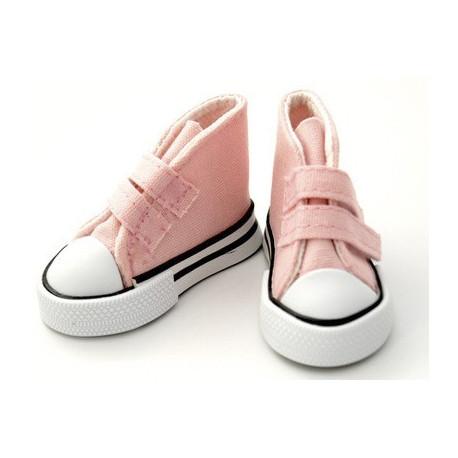 Кеды розовые на липучке, длина стопы 5см высота 3,3см. Кукольная обувь