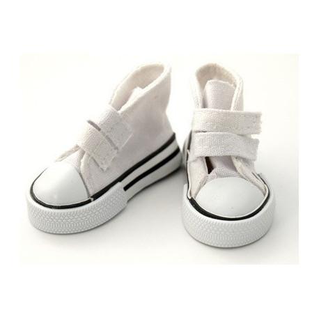 Кеды белые на липучке, длина стопы 5см высота 3,3см. Кукольная обувь