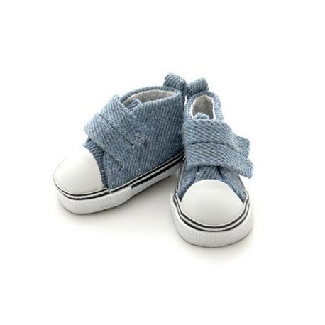 Кеды джинсовые на липучке, длина стопы 5см высота 3,3см. Кукольная обувь