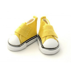 Кеды желтые на липучке, длина стопы 5см высота 3,3см. Кукольная обувь