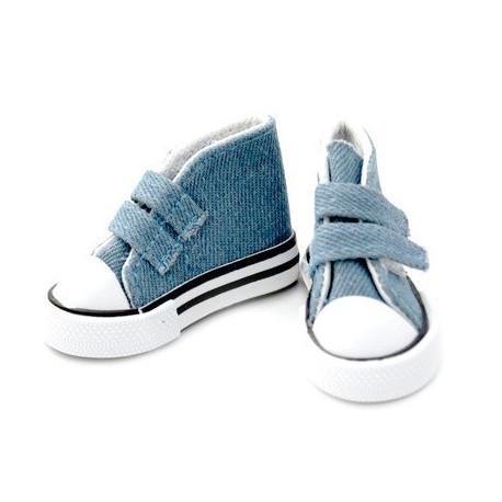 Кеды джинсовые, длина стопы 7,5см высота 4,5см. Кукольная обувь