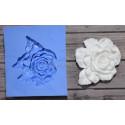 Роза с листиками 3х3см, молд силиконовый универсальный АП