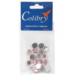 Светло-розовый овальные, стразы акриловые пришивные, 8х10мм, 18шт. Colibry