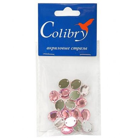 Розовый овальные, стразы акриловые пришивные, 8х10мм, 18шт. Colibry