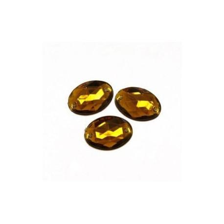 Темно-желтый овальные, стразы акриловые пришивные, 8х10мм, 18шт. Colibry