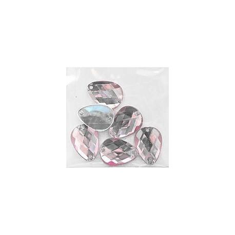 Светло-розовый каплевидные, стразы акриловые пришивные, 13х18мм, 6шт. Colibry