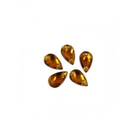 Темно-желтый каплевидные, стразы акриловые пришивные, 13х18мм, 6шт. Colibry