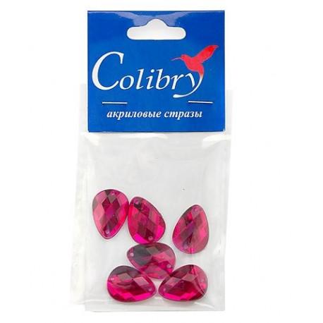 Малиновый каплевидные, стразы акриловые пришивные, 13х18мм, 6шт. Colibry