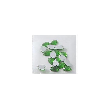 Зеленый каплевидные, стразы акриловые пришивные, 8х13мм, 12шт. Colibry