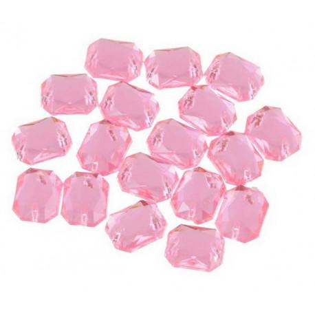 Розовый прямоугольные, стразы акриловые пришивные, 18*25мм, 3шт. Colibry
