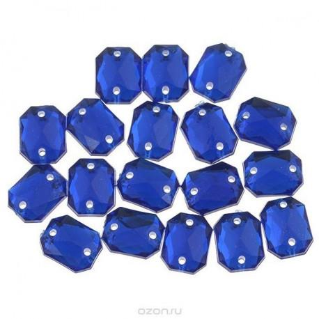 Синий прямоугольные, стразы акриловые пришивные, 18*25мм, 3шт. Colibry