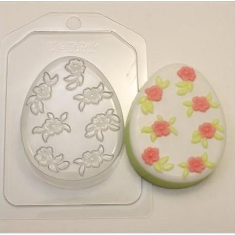 Яйцо плоское/Мелкие цветочки, пластиковая форма для мыла XD