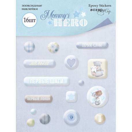 Mommy's Hero, набор эпоксидных наклеек 16шт. Scrapmir