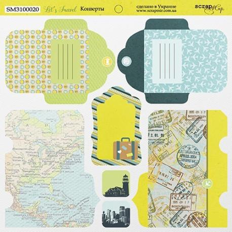 Конверты Let's Travel, лист двухсторонней бумаги 20х20см, 190гр/м Scrapmir