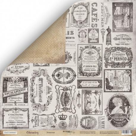 Этикетки из коллекции Charming (Очарование), лист двусторонней бумаги 30х30см, 190гр/м Scrapmir