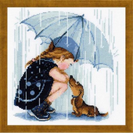 Дождик, набор для вышивания крестиком 25х25см мулине хлопок+шерсть 18цветов Риолис