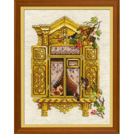 Окошко в Воробьево, набор для вышивания крестиком 30х40см нитки шерсть Safil 23цвета Риолис