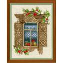 Окошко в Малиновку, набор для вышивания крестиком 30х40см нитки шерсть Safil 24цвета Риолис