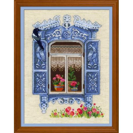 Окошко в Птичное, набор для вышивания крестиком 30х40см нитки шерсть Safil 27цветов Риолис