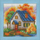 Осенний домик, набор для изготовления картины стразами 15х15см 21цв. полная выкладка АЖ