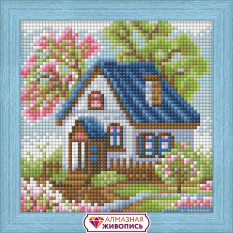 Весенний домик, набор для изготовления картины стразами 15х15см 18цв. полная выкладка АЖ