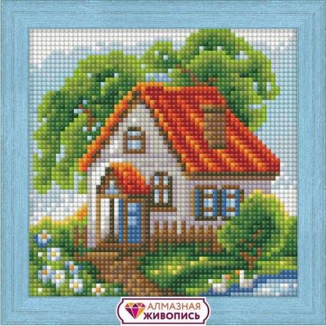 Летний домик, набор для изготовления картины стразами 15х15см 21цв. полная выкладка АЖ