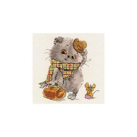 Басик и Милена. В гости к Вам, набор для вышивания крестиком 13х13см 23цвета Алиса