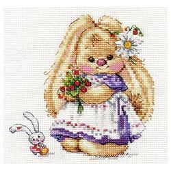 Зайка Ми. Земляника, набор для вышивания крестиком, 13х13см, 26цветов Алиса