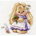 Зайка Ми. Земляника, набор для вышивания крестиком 13х13см 26цветов Алиса