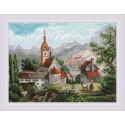 Монастырь Шоненверт гравюра XIX века, набор для вышивания крестиком, 40х30см, мулине хлопок 27цветов