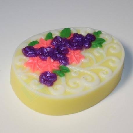 Яйцо плоское/Орнамент и цветы, пластиковая форма для мыла XD