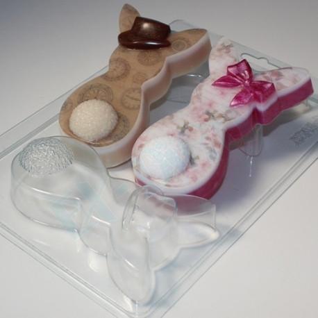 Кролики плоские Парочка, пластиковая форма для мыла XD