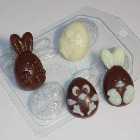 Кролик и цыпленок мультяшные (4 мини), пластиковая форма для мыла XD