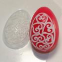 Яйцо/Орнамент сердечки-завитушки, пластиковая форма для мыла 40г 66х44х24мм XD