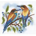 Яркие птички, набор для вышивания крестиком, 20х20см, 27цветов Panna
