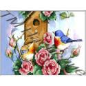 Скворечник и птицы,набор для изготовления мозаики круглыми стразами 20х24см 11цв. частичная выкладка
