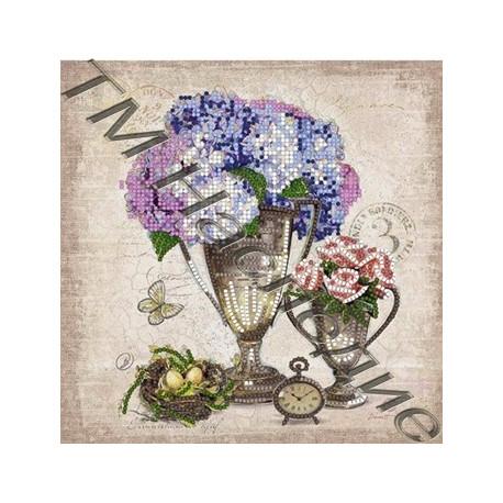 Сирень винтаж, ткань с рисунком для вышивания бисером 18,5х19см 8цв. Наследие