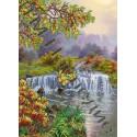 Природа с водопадом, ткань с рисунком для вышивания бисером 36х26см 11цв. Наследие