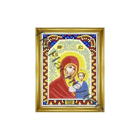 Казанская, набор для изготовления иконы круглыми стразами 10,5х14,5см 9цв. частичная выкладка