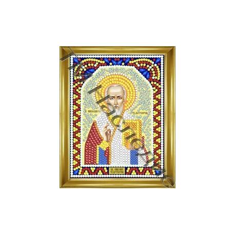 Николай Чудотворец, набор для изготовления иконы круглыми стразами 10,5х14,5см 9цв. частичная выклад