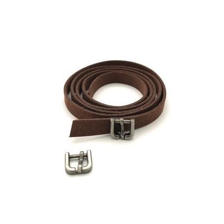 Ремешок коричневый замша 0,9х80см+пряжка мини никель 2шт. Magic4Toys