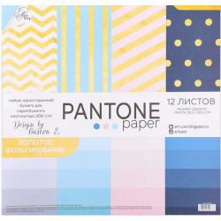 Pantone, набор односторонней бумаги с фольгироованием для скрапа 30,5*30,5см 12листов 200г/м АртУзор