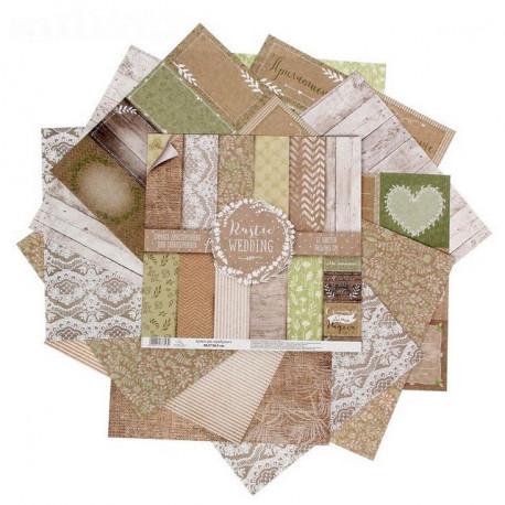 Rustic Wedding, набор двусторонней бумаги для скрапбукинга 30,5*30,5см 12листов 180г/м АртУзор