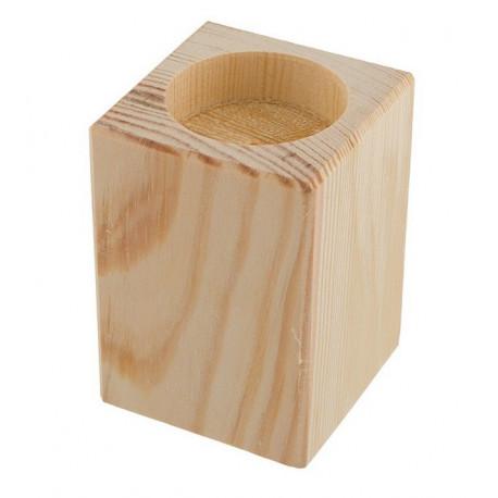 Подсвечник средний, заготовка для декорирования сосна 7,5х5,5х5,5см Mr.Carving