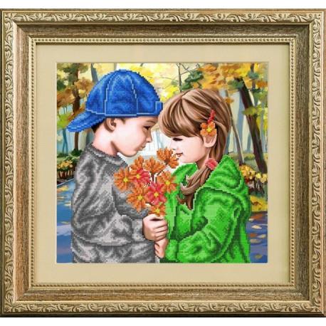 Первые цветы, ткань с рисунком для вышивки бисером 30х29см. Благовест
