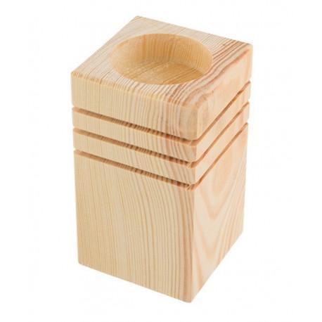 Подсвечник с рисунком, заготовка для декорирования сосна 9,5х5,5х5,5см, Mr.Carving