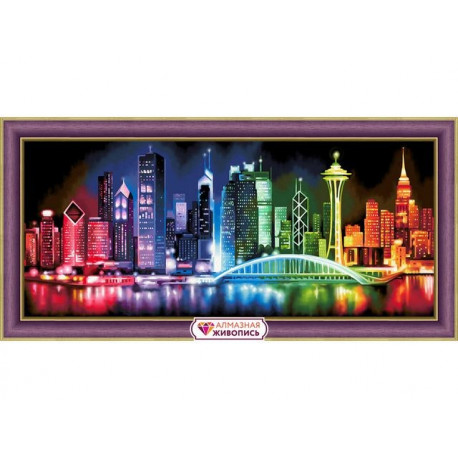 Сияющий мегаполис, набор для изготовления картины стразами 70х30см 57цв. полная выкладка АЖ