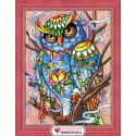 Красочный филин, набор для изготовления картины стразами 30х40см 37цв. полная выкладка АЖ