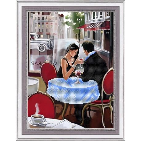 Первое свидание, ткань с рисунком для вышивки бисером 20х27см. Благовест