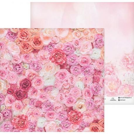 Одеяло из роз, бумага для скрапбукинга 30.5х30.5см 180г/м2 двусторонняя АртУзор